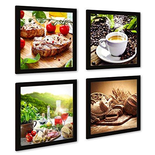 Küchen Deko-Bilder Set B, mehrteiliges quadratisches Set mit schwarzen Bilderrahmen, je 32x32cm, Seidenmatte Optik auf Forex, Moderne Bilder für Küche, Esszimmer, Deko Bild, Kaffee Brot Gewürze