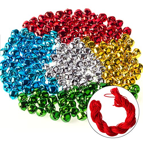 200PCS Mini Jingle Bells Bulk with 25 Meters Red Cords,10mm Small Bells for Christmas,Crafts Party Decorations and Jewelry Making