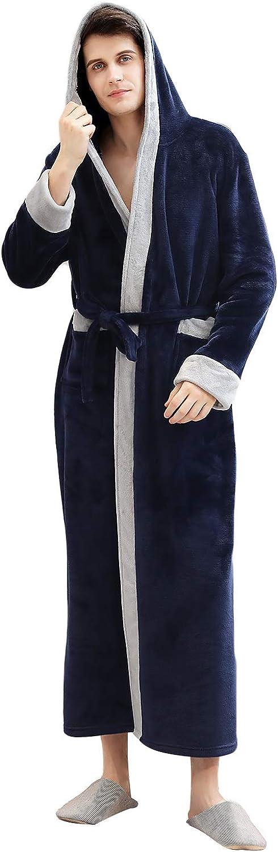 ZAPZEAL Womens Mens Warm Flannel Fleece Robe with Hood Long Plush Bathrobe Lightweight Soft Loungewear, M-XL