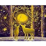 QqHAO Adulte Puzzle 1000 Pièces Espace Traveler, Paysage Puzzles en Carton, Jeux éducatifs intellectuelle, Thèmes Puzzle Jeux pour la Famille pour Les Enfants,Deer in The Forest