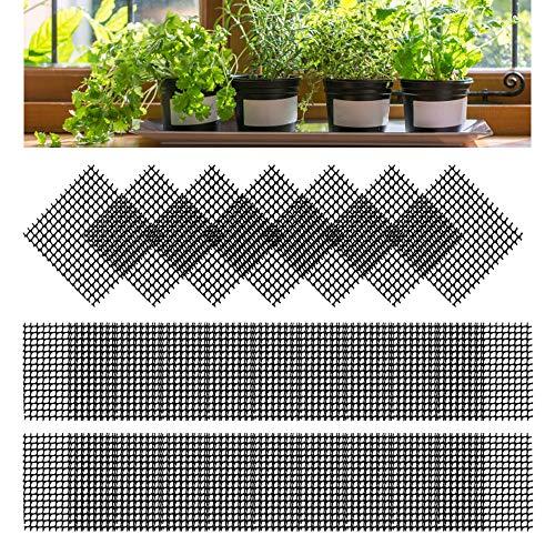Huahao 80 Pcs Blumentopf Mesh Pad Kunststoff Bonsai Gitter 5,2 x 5,2cm Gitter Bonsai-Topf Drainagegitter Matte Unterseite Pad verhindern Boden Verlust, Abdecknetze für Blumentopf (schwarz)