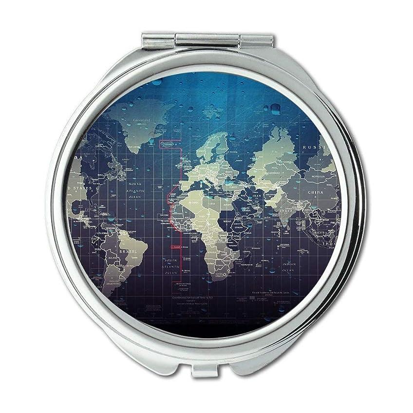 計算劇場写真を撮るポケットミラー、コンパクトミラーラウンドコンパクトミラー両面、世界mapWalletミラー男性/女性MT 003