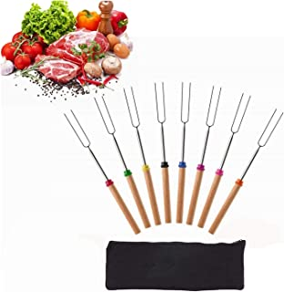 8pcs Barbecue Grill Set Roasting Sticks Set Marshmallow Telescoping BBQ Forks for Camping Campfire with Bag