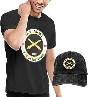 Army MOS 13S Field Artillery Surveyor Mens Casual Short Sleeve T Shirt and Washed Baseball Cap
