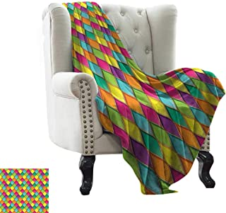 Emergency Blanket Geometric,Vivid Colored Stained Glass Style Pattern Wavy Lines Curves Oval Shapes Modern,Multicolor Cozy Hypoallergenic, Easy to Carry Blanket 70