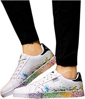 Women's Sport Shoes,Fashion Couple Colorful Splashing Ink White Shoes Male and Female Sport Board Shoes Sneakers