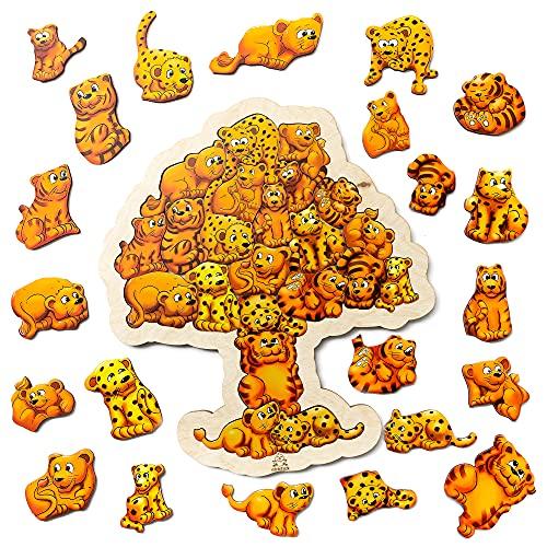 Holzpuzzle ab 3 Jahren. 22 einzigartig geformte Tiere Puzzles für Kleinkinder - pädagogische Puzzles Kinder. Vorschule Puzzles. Montessori Puzzle. Safari.