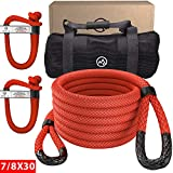 Miolle 7/8' x 30' Kinetic Recovery & Tow Rope, Red (29,300 lbs), with 2 Spectra Fiber Soft Shackles 3/8' x 6' (35000 lbs)