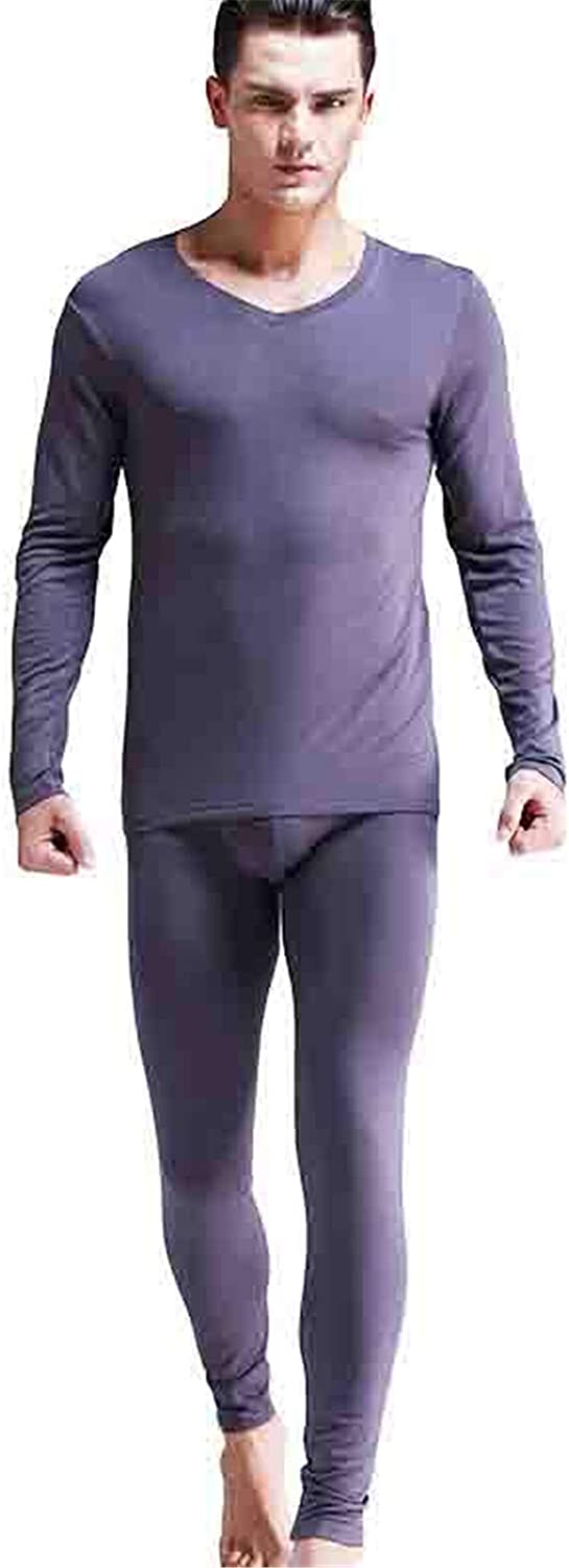 EverNight Men's Ultra Soft Thermal Underwear Set,High Elastic Solid Color Cold-Proof Skinny Thin Section Top and Bottom,2,XL
