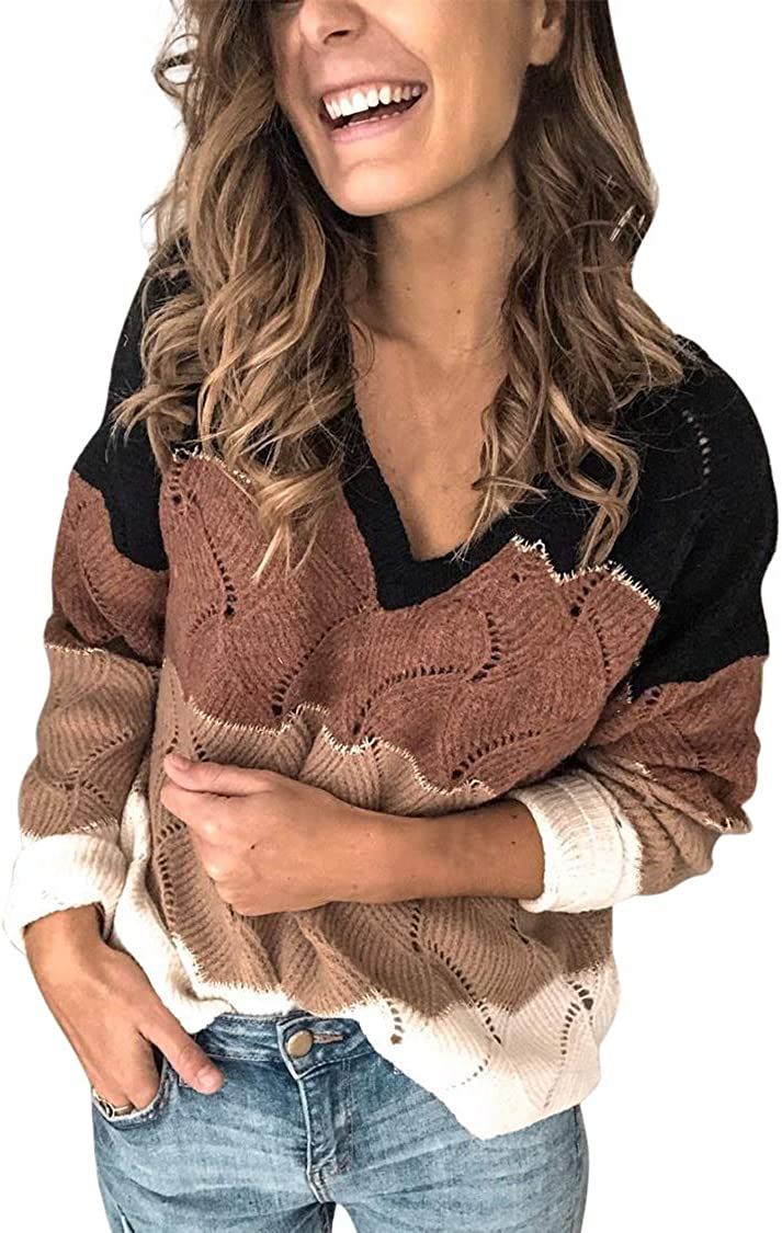 Women's V Neck Color Block Striped Sweater Long Sleeve Loose Knit Pullover Tops