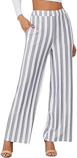 Realdo New Women's Stripe Print Wide Leg Pants,Ladies Casual Fashion Leggings