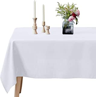 VEEYOO Rectangular Tablecloth 100% Polyester Oblong Table Cloth for Bridal Shower – Solid Soft Oval Table Cover for Wedding Party Restaurant Party Buffet Table (White, 60x102 inch)