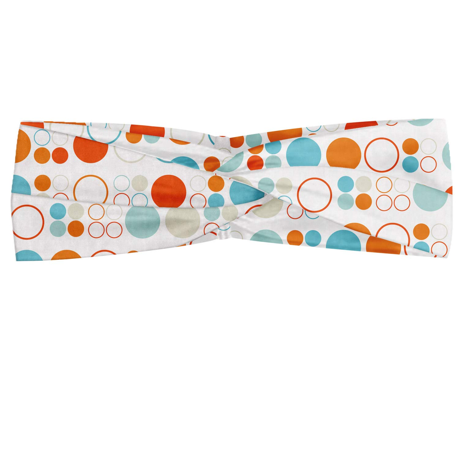 Ambesonne Geometric Headband, Simplistic Colorful Circles Rings Ovals Rounds Playroom Design, Elastic and Soft Women's Bandana for Sports and Everyday Use, Multicolor