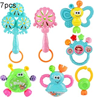 Anniston Kids Toys, 7Pcs Cartoon Animal Newborn Baby Shake Hand Bell Musical Rattle Teething Toy Baby Toys Perfect Fun Tim...