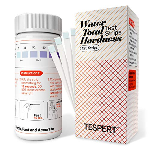 Tespert water hardness test strips, 125 strips, simple and accurate test kit for water softener water filtration systems pools spa laundry dishwashers industrial processes and more