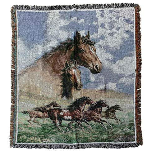 Western Galloping Horse Woven Tapestry Throw Blanket with Fringe 50X60 Inches