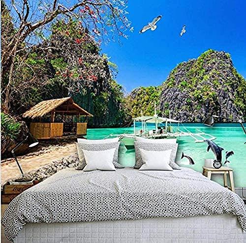 3D Foto Wallpaper Hd Hawaiian Ocean View Wohnzimmer TV Hintergrund Sofa Wand Schlafzimmer Wandbild 3D Wanddekoration fototapete 3d Tapete effekt Vlies wandbild Schlafzimmer-400cm×280cm