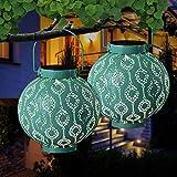 Hanging Solar Lantern 2 Pack Retro Solar Lights with Handle Garden Hanging Lanterns Metal Decorative Light for Yard Tree Fence Patio