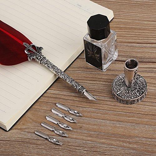 Asixx万年筆フェザーペン羽毛ペン羽根羽飾り高級感書道署名ペンプレゼント(レッド)