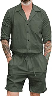 Men's Dungarees Stylish Long/Short Sleeve Cargo Overalls Jumpsuits, Slim fit Drawstring Solid Rompers Workwears Casual for...