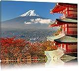 Tempel am Fudschijama Japan Format: 120x80 auf Leinwand,