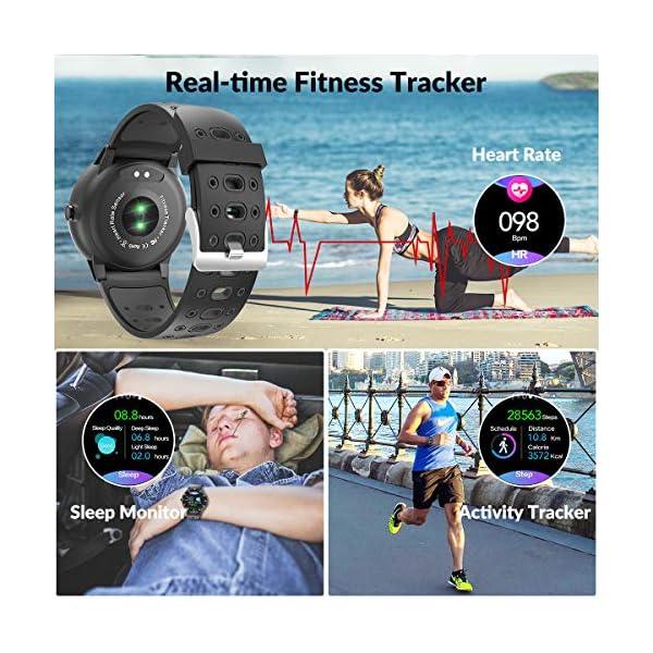 HopoFit Smartwatch Reloj Inteligente, HF06 Pantalla Táctil Completa Circular Impermeable Podómetro Pulsómetros, Monitor… 3