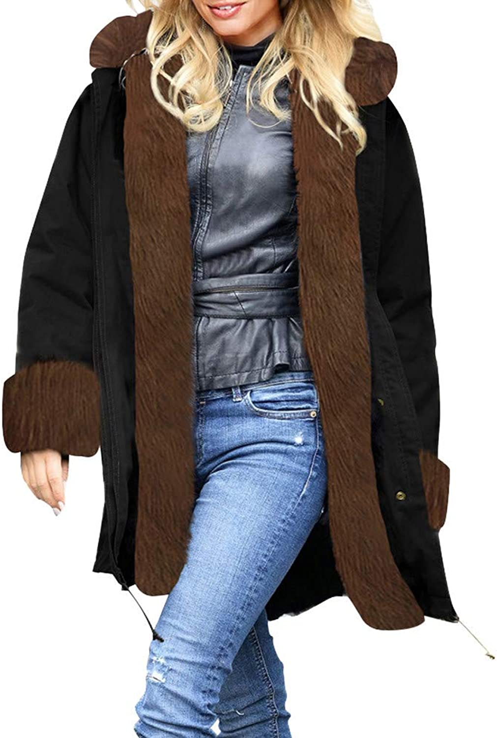 FIRERO Womens Faux Fur Winter Jacket Parka Hooded Coat Fishtail Long Sleeves Overcoat