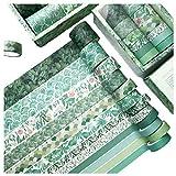 Cinta Adhesiva Decorativa Washi Masking Tape Washi Tape Vintage Washi Tape Set Washi Set Selva für DIY Crafts Book Scrapbook Dekoration(verde)