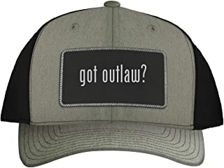 One Legging it Around got Outlaw? - Leather Black Metallic Patch Engraved Trucker Hat
