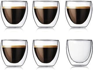 Lot de 6 tasses à café à double paroi en verre transparent isolé pour café, thé, latte, jus (80 ml)