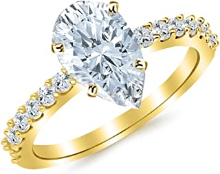 2.43 Ctw 14K White Gold Classic Prong Set Engagement Ring w/Pear 2 Carat Forever One Moissanite Center
