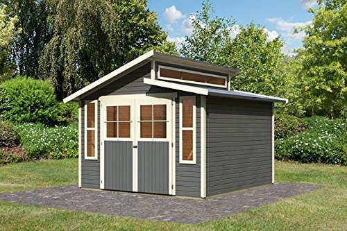 Unbekannt Karibu Gartenhaus GRAUBURG 7 terragrau Gerätehaus 302x306cm 19mm