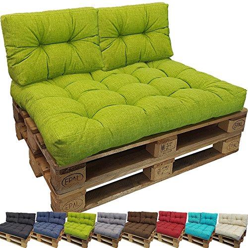 DILUMA Palettenkissen Comfort kleines Rückenkissen 60x40 cm Grün - Palettensofa Indoor/Outdoor schmutz- und Wasserabweisende Palettenauflage Palettenpolster für Europaletten
