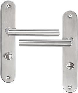 TecTake Manija para Puerta pestillo Tirador picaporte Acero Inoxidable Plata Estera - Varios Modelos - (Juego WC Derecha | No. 401202)
