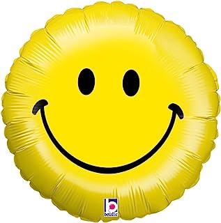 بالون من الرقائق المعدنية على شكل وجه مبتسم من بيتالك، مقاس 45.72 سم، لون أصفر
