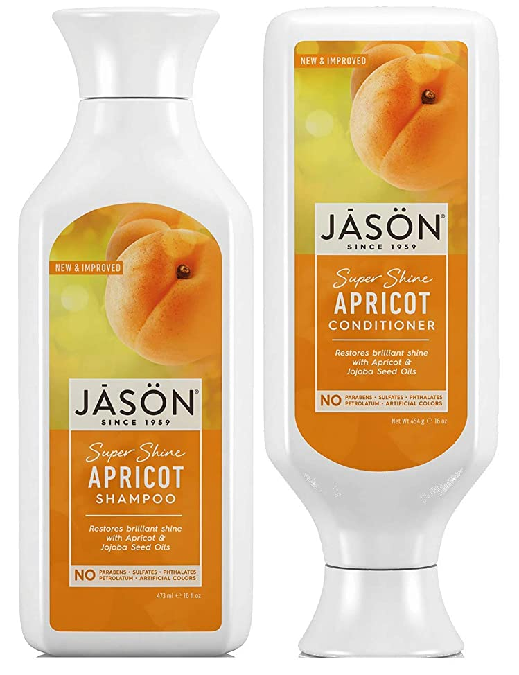 Jason Super Shine Apricot Shampoo and Conditioner Bundle With Apricot Oil, Soy Protein, Aloe Vera and Jojoba Seed oil, 16 oz. and 16 oz. Each