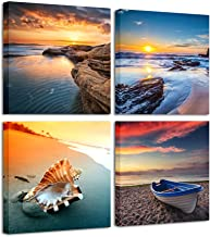 Pyradecor Sunset Sea Beach Modern Seascape Pictures Paintings on Canvas Wall Art 4 Panels Stretched and Framed Giclee Canv...