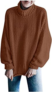 Womens Turtleneck Sweaters Oversized Chunky Batwing Long Sleeve Pullover Loose Knitted Jumper Top