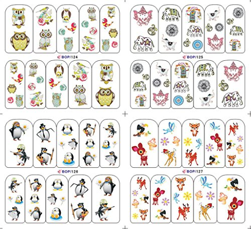 KADS BOP124-127 Animals Elephant, deer£¬ Penguin£¬ and Owl Water Nail Art Stickers - 1 Pack 4 design