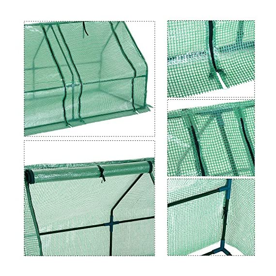 Outsunny 9' l x 3' w x 3' h portable tunnel greenhouse outdoor garden mini hot house with large zipper doors, water/uv… 7 ✅protect plants from the elements: bring all of your plants together in a unified and protected space with our garden greenhouse. Having everything in one place means our plant nursery helps you manage and grow your plants, fruits, vegetables, and flowers all year round. ✅updated design with 3 large doors: the 3 side doors of our plant nursery can be completely opened and rolled up with ties, thereby making a larger space & creating better ventilation. ✅let and keep the good stuff in: this small hot house features a pe mesh grid cover that is sun and water fighting to help protect plants while allowing nourishing sunlight to pass through. Furthermore, the cover helps retain heat during colder months.