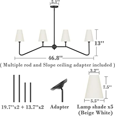 "Electro bp;47""W 4-Light Linear Kitchen Island Lighting Fixture Classic Chandeliers Matt Black with White Linen Shades 160"