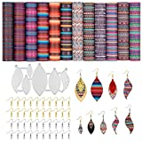 Mexican Serape Leather Earring Making Kit - 6 PCS Earring Die Cuts, 12 PCS Faux Leather Sheets and Accessories for DIY Earring Crafts