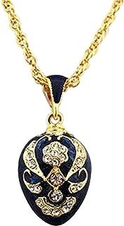 ddf7d5a411 Pendentif Oeufs Style Fabergé Bleu Saphir avec 58 Cristaux et sa chaîne