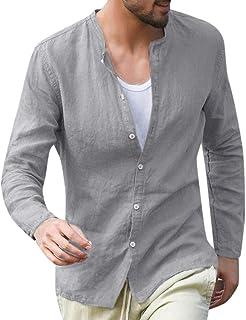 Camiseta Cuello En Para Hombre Camisa V Casual Ropa Tamaños Cómodos De Hombre Ropa De Algodón Holgada Para Hombres Botón L...