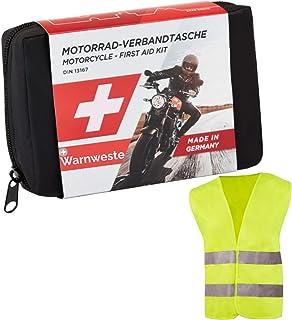 GoLab ® Motorfiets EHBO-set - klein en compact, verbandtas volgens DIN 13167 met veiligheidsvest geschikt voor alle Europe...