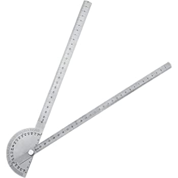 Angle Protractor Angle Finder Ruler Two Arm Stainless Steel Protractor Woodworking Ruler Angle Measure Tool with 0-180 Degrees (30 cm/ 11.8 Inch)