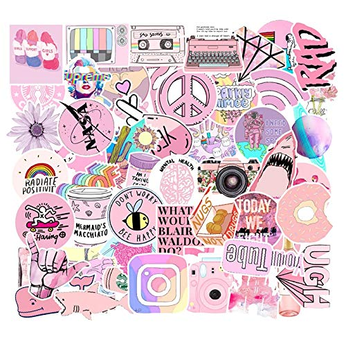 53 Pcs Pink Aesthetic Sticker Pack Vinyl Waterproof Water Bottle Laptop Feminists Trendy Stickers Decal Graffiti Patches