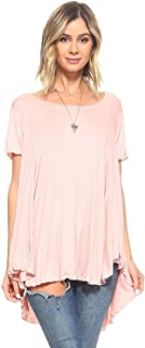 Simplicitie Women's Short Sleeve Loose Fit Flare Flowy T Shirt Tunic Top - Regular and Plus Size - Mauve Pink - Made in USA