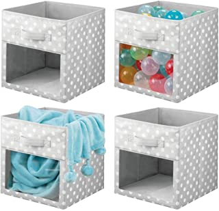 mDesign Soft Fabric Closet Storage Organizer Cube Bin Box, Clear Window and Handle - for Child/Kids Room, Nursery, Playroom, Furniture Units, Shelf - 11