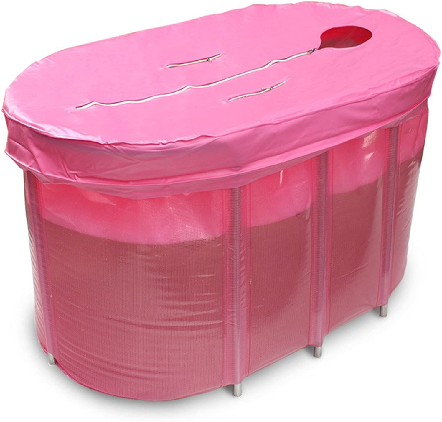 Bathtubs Soaking Baths Adult plastic bath barrel free inflatable thickened thickened thickened plastic folding bath barrel (color   Pink) 790ee6